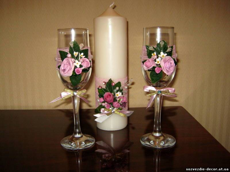 Бокалы свадебные своими руками из цветов 223